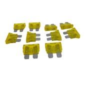 Kit com 10 Fusíveis Lamina Amarelo 20A - Cód.6747