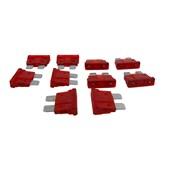 Kit com 10 Fusíveis Lamina Vermelho 10A - Cód.6749