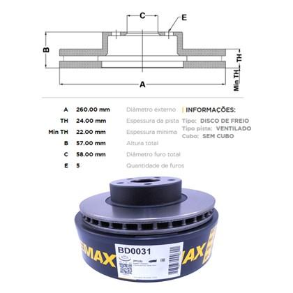 Kit Disco de Freio BD0031 Diant. Subaru Impreza, Legacy - Cód.5148